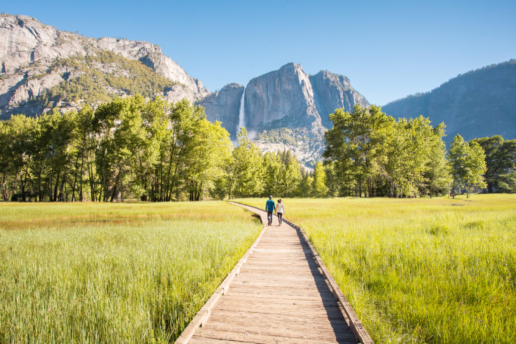 Wooden path through green grass in Sentinel Meadow with Yosemite Falls in the distance.