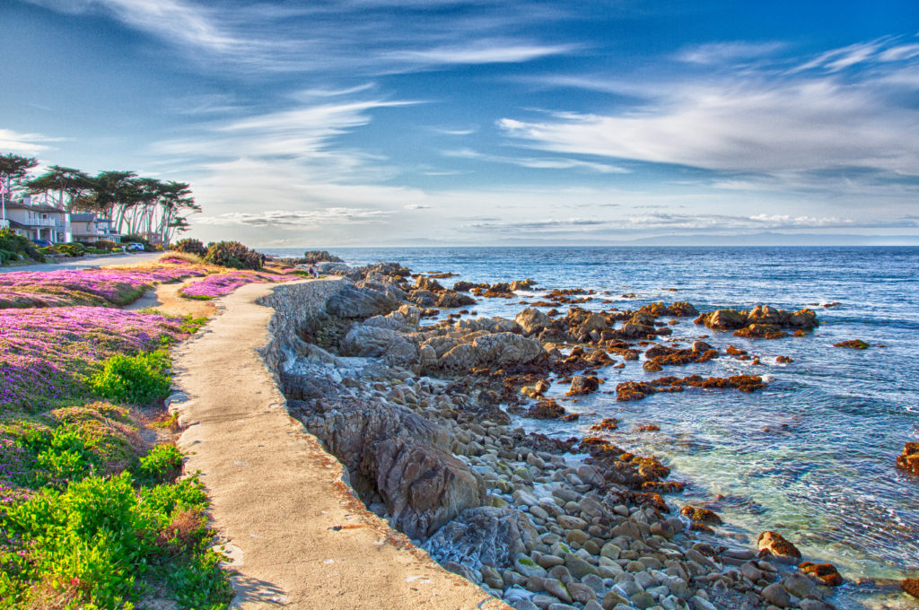 Pacific Grove walking path along rocky shoreline.